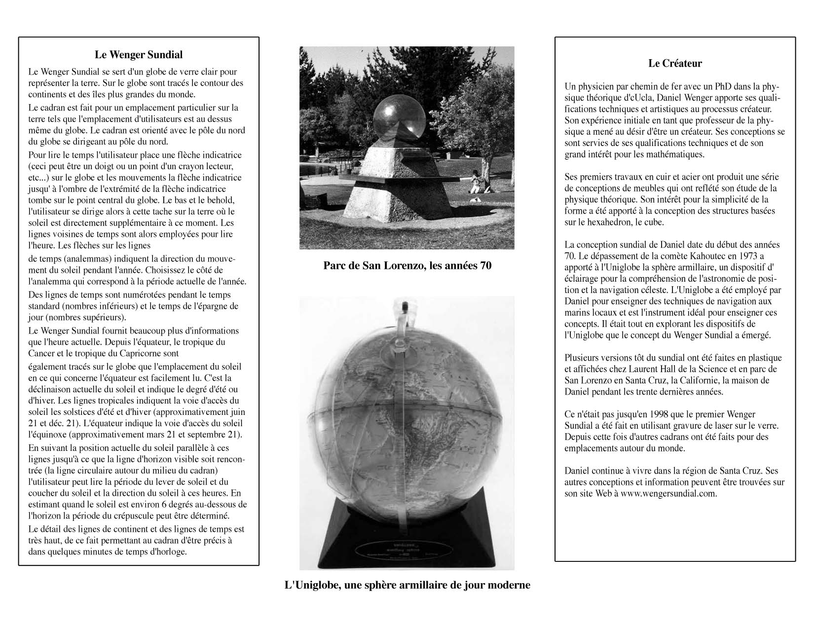 Wenger Sundial Brochure in French