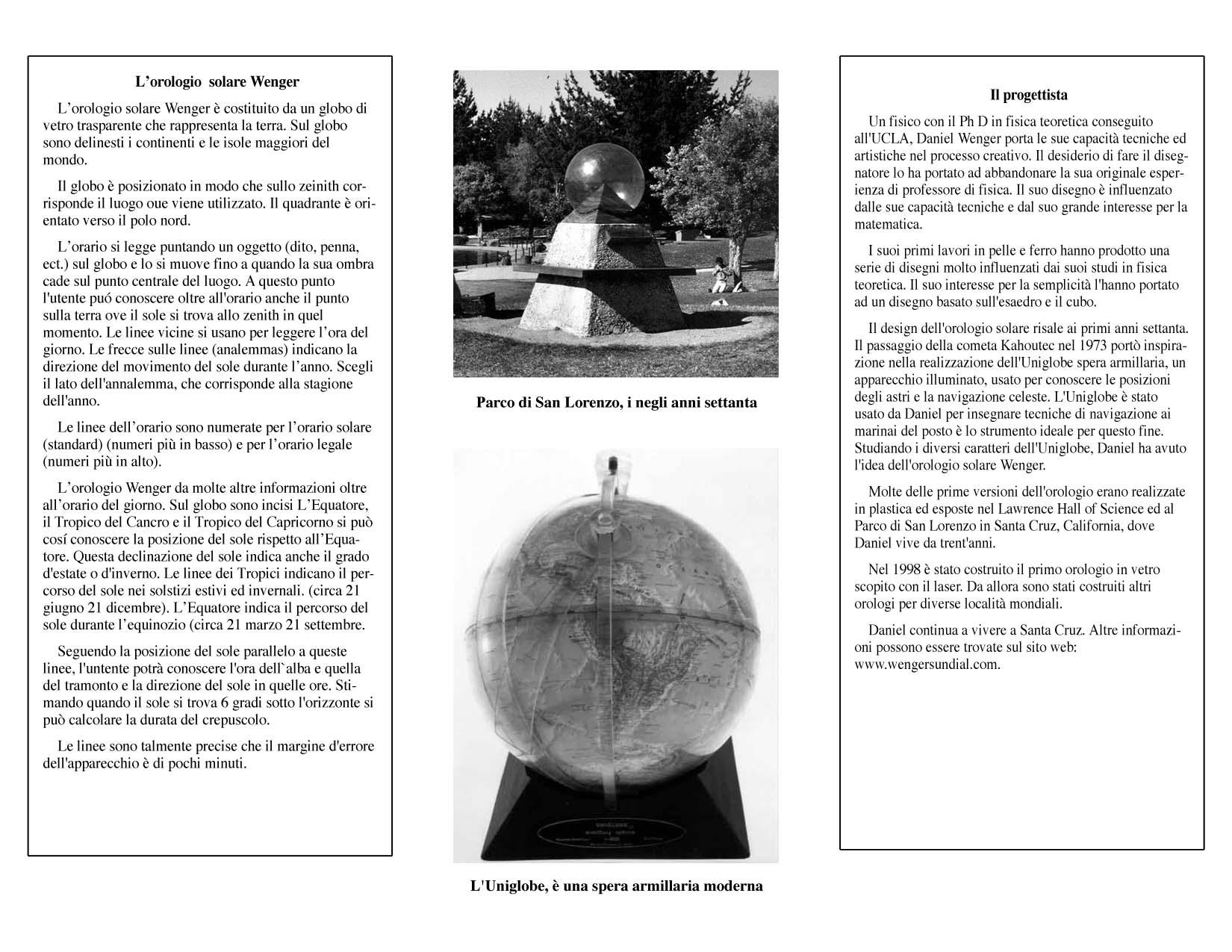 Wenger Sundial Brochure in Italian
