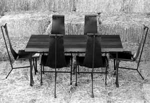Dining Table, six chairs, redwood
